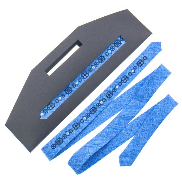 Тонкий галстук с вышивкой №831