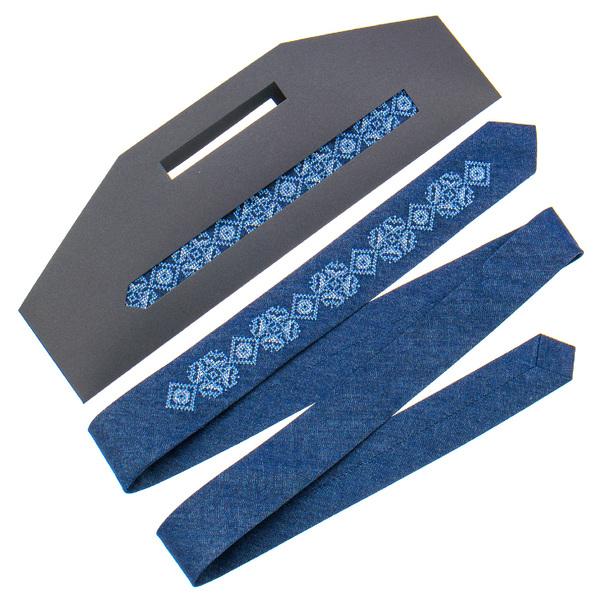 Узкий джинсовый галстук с вышивкой №896
