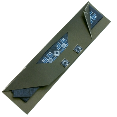 Узкий вышитый галстук с запонками Звидан