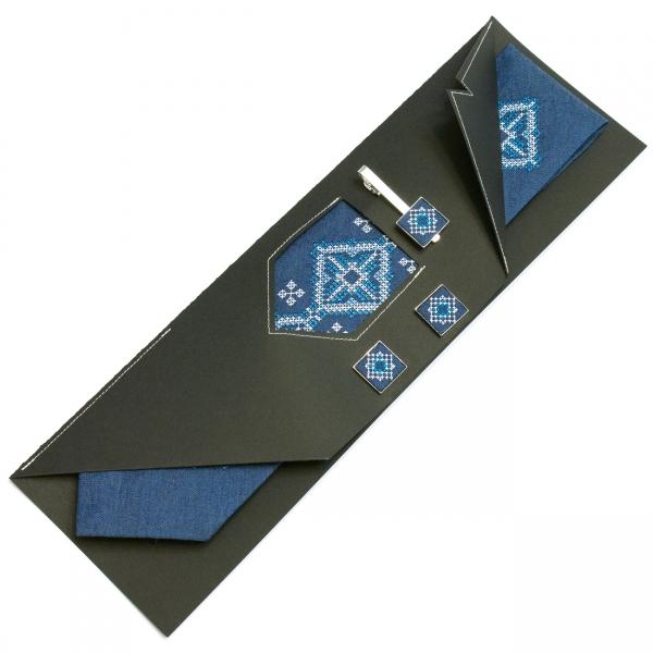Джинсовый набор Мороз галстук + зажим + запонки