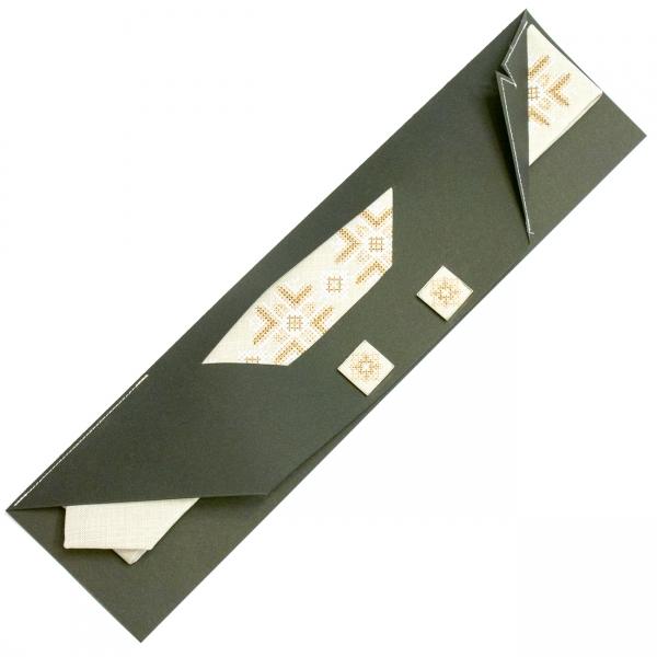 Узкий вышитый галстук с запонками Яролюб