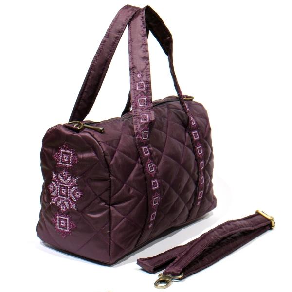 Вышитая сумка-бочонок баклажан №772