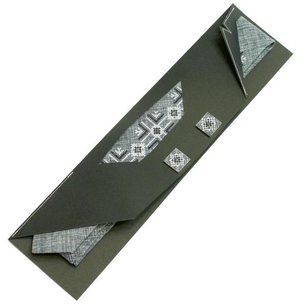 Узкий вышитый галстук с запонками Сымий