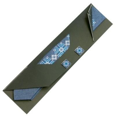 Узкий вышитый галстук с запонками Майслав