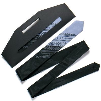 Галстук с вышивкой Черно-серый дуэт (узкий)